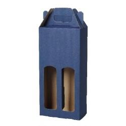 Kartonová krabice na 2 lahve modrá